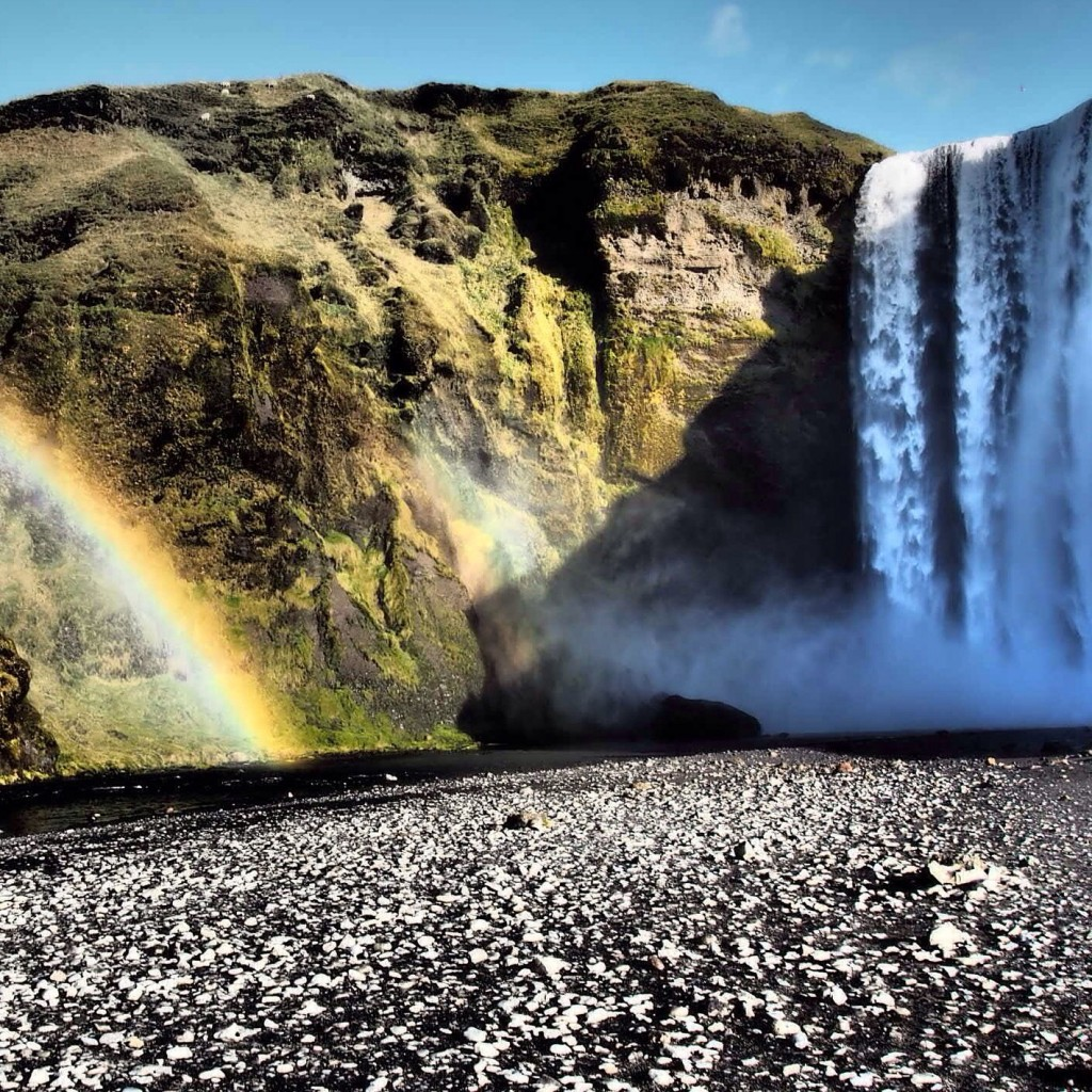 Rainbow waterfall Iceland